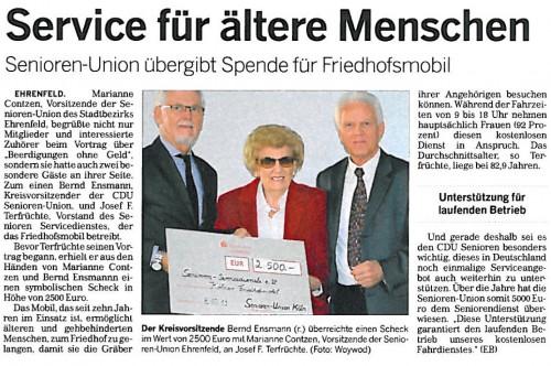 Kölnische Rundschau: Service für ältere Menschen - Senioren-Union übergibt Spende für Friedhofsmobil